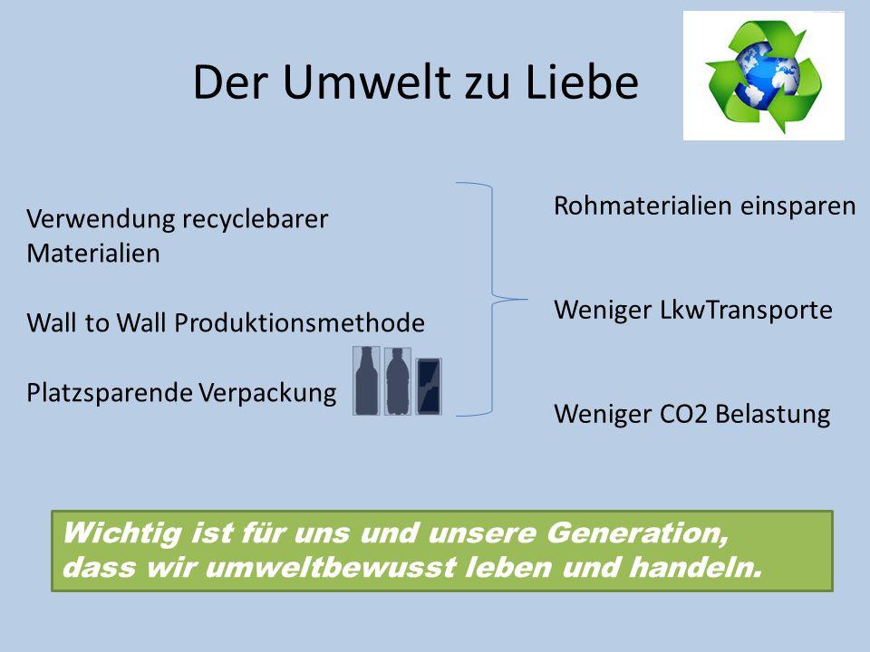 Der Umwelt zu Liebe Verwendung recyclebarer Materialien Wall to Wall Produktionsmethode Platzsparende Verpackung Rohmaterialien einsparen Weniger LkwT