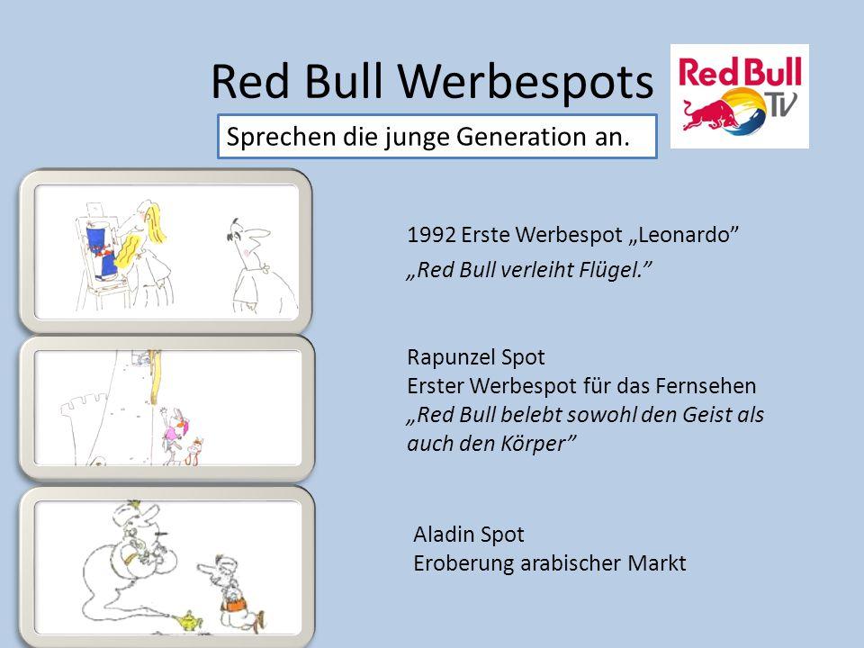 """Red Bull Werbespots Sprechen die junge Generation an. 1992 Erste Werbespot """"Leonardo"""" """"Red Bull verleiht Flügel."""" Rapunzel Spot Erster Werbespot für d"""