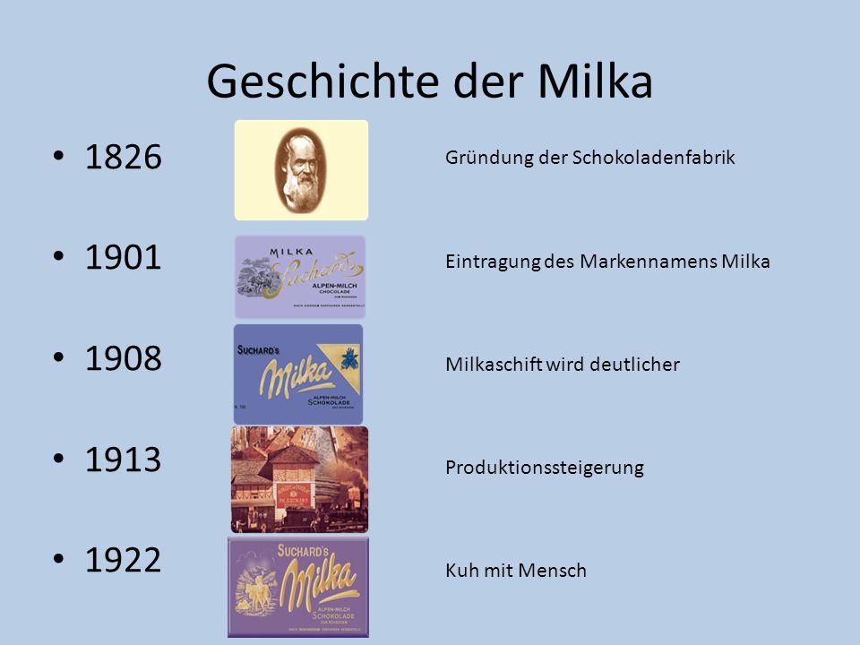 Geschichte der Milka 1826 1901 1908 1913 1922 Gründung der Schokoladenfabrik Eintragung des Markennamens Milka Milkaschift wird deutlicher Produktions