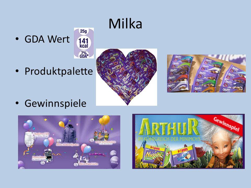 Milka GDA Wert Produktpalette Gewinnspiele