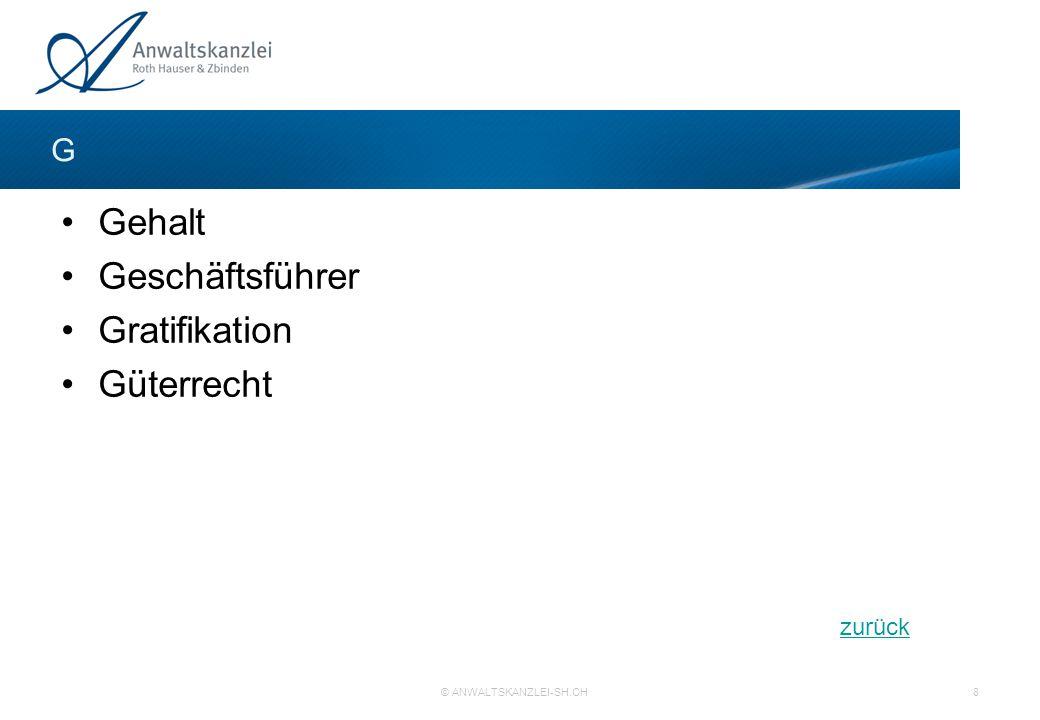 zurück © ANWALTSKANZLEI-SH.CH 8 Gehalt Geschäftsführer Gratifikation Güterrecht G