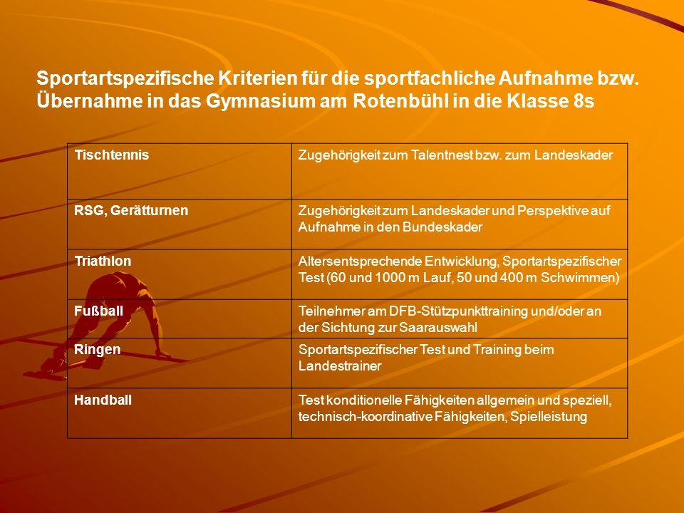 TischtennisZugehörigkeit zum Talentnest bzw. zum Landeskader RSG, GerätturnenZugehörigkeit zum Landeskader und Perspektive auf Aufnahme in den Bundesk