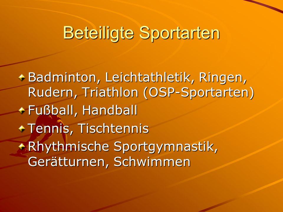 Beteiligte Sportarten Badminton, Leichtathletik, Ringen, Rudern, Triathlon (OSP-Sportarten) Fußball, Handball Tennis, Tischtennis Rhythmische Sportgym