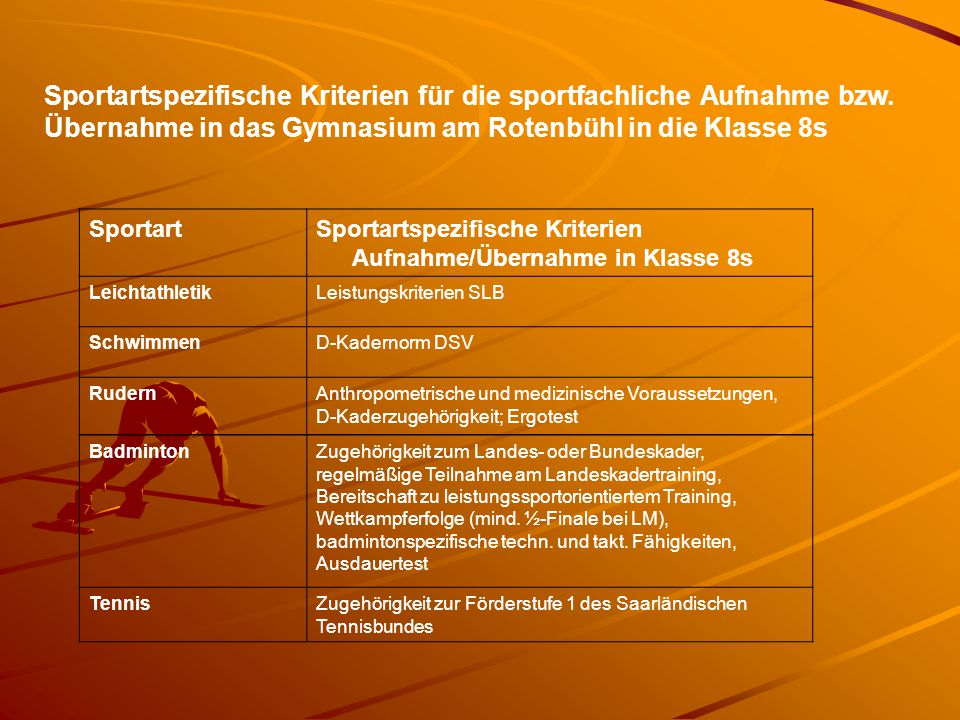 Sportartspezifische Kriterien für die sportfachliche Aufnahme bzw. Übernahme in das Gymnasium am Rotenbühl in die Klasse 8s SportartSportartspezifisch