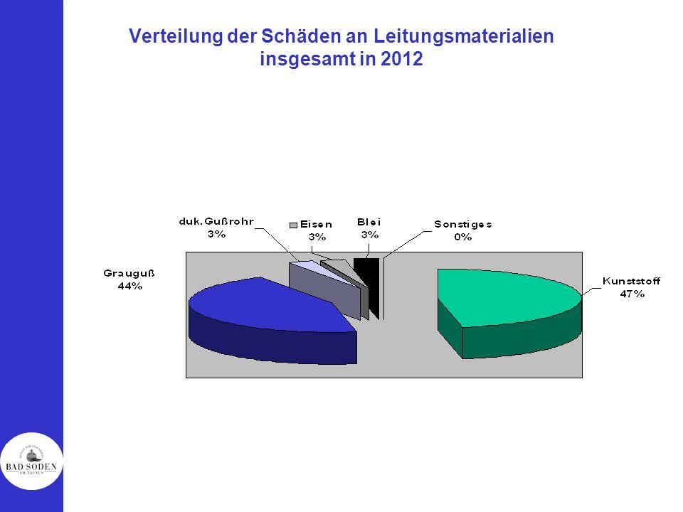 Verteilung der Schäden an Leitungsmaterialien insgesamt in 2012