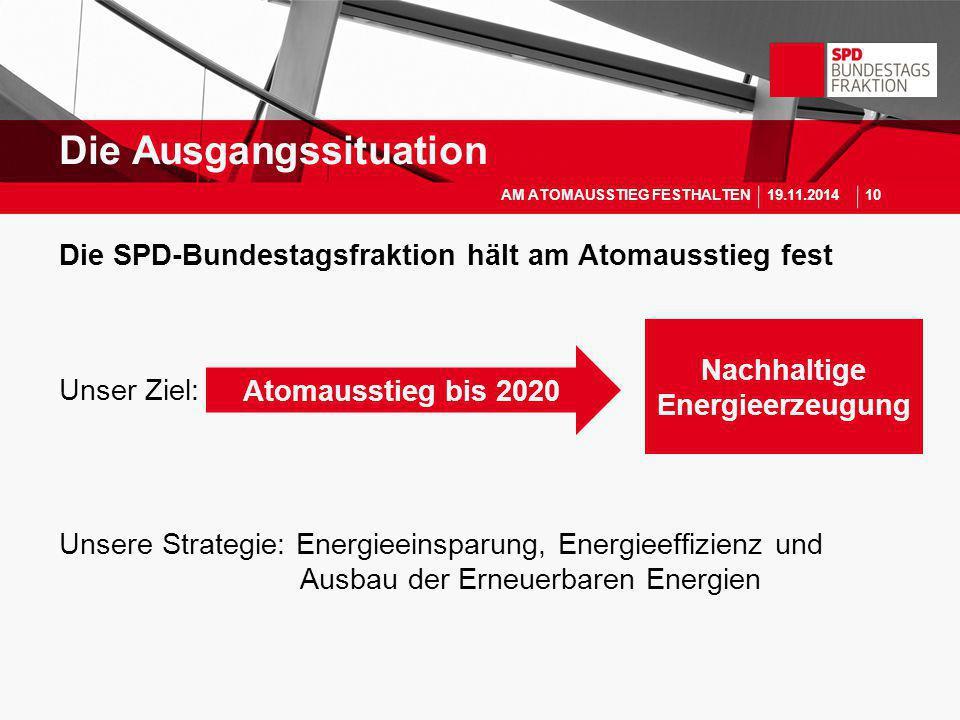 Die SPD-Bundestagsfraktion hält am Atomausstieg fest Unser Ziel: Unsere Strategie: Energieeinsparung, Energieeffizienz und Ausbau der Erneuerbaren Ene