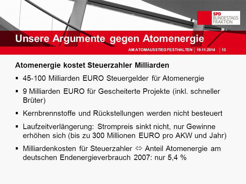 Atomenergie kostet Steuerzahler Milliarden  45-100 Milliarden EURO Steuergelder für Atomenergie  9 Milliarden EURO für Gescheiterte Projekte (inkl.