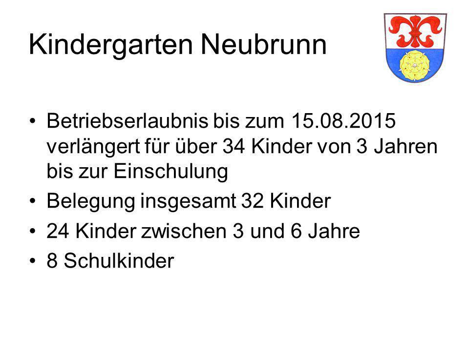 Kindergarten Neubrunn Betriebserlaubnis bis zum 15.08.2015 verlängert für über 34 Kinder von 3 Jahren bis zur Einschulung Belegung insgesamt 32 Kinder