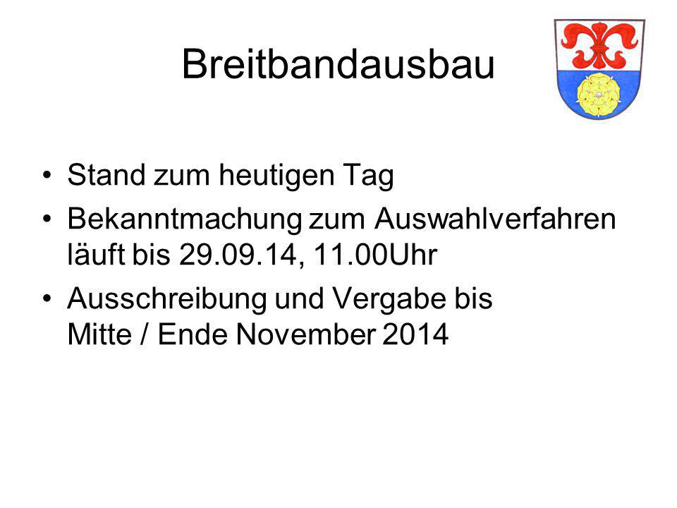 Breitbandausbau Stand zum heutigen Tag Bekanntmachung zum Auswahlverfahren läuft bis 29.09.14, 11.00Uhr Ausschreibung und Vergabe bis Mitte / Ende Nov