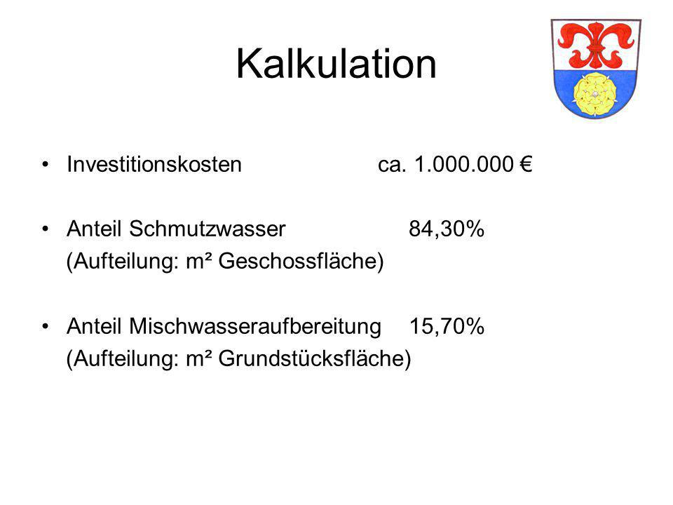 Kalkulation Investitionskostenca.