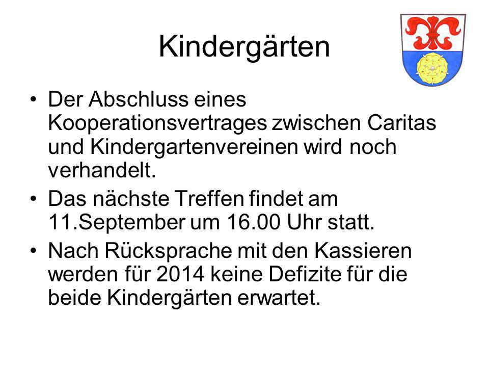Kindergärten Der Abschluss eines Kooperationsvertrages zwischen Caritas und Kindergartenvereinen wird noch verhandelt.