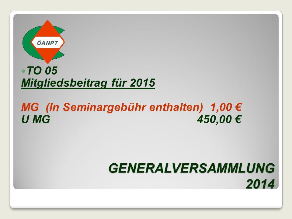 GENERALVERSAMMLUNG 2014 TO 05 Mitgliedsbeitrag für 2015 MG (In Seminargebühr enthalten) 1,00 € U MG 450,00 €