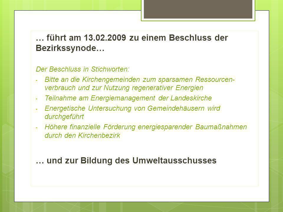 … führt am 13.02.2009 zu einem Beschluss der Bezirkssynode… Der Beschluss in Stichworten: - Bitte an die Kirchengemeinden zum sparsamen Ressourcen- ve