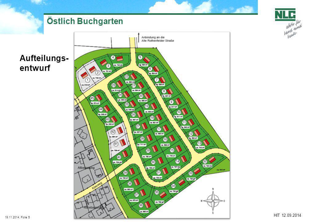19.11.2014, Folie5 Östlich Buchgarten Aufteilungs- entwurf HIT 12.09.2014