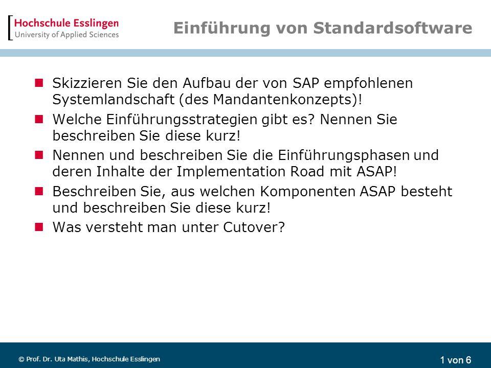 1 von 6 © Prof. Dr. Uta Mathis, Hochschule Esslingen Einführung von Standardsoftware Skizzieren Sie den Aufbau der von SAP empfohlenen Systemlandschaf
