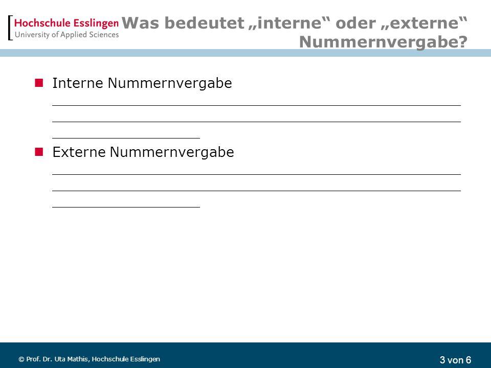 """3 von 6 © Prof. Dr. Uta Mathis, Hochschule Esslingen Was bedeutet """"interne"""" oder """"externe"""" Nummernvergabe? Interne Nummernvergabe ____________________"""