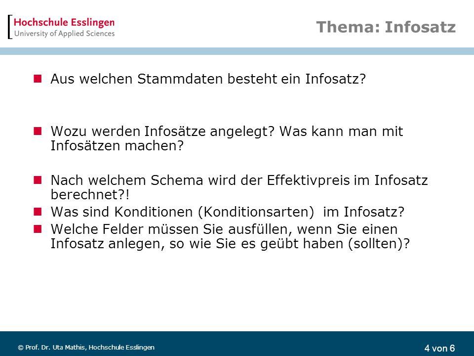 4 von 6 © Prof. Dr. Uta Mathis, Hochschule Esslingen Thema: Infosatz Aus welchen Stammdaten besteht ein Infosatz? Wozu werden Infosätze angelegt? Was