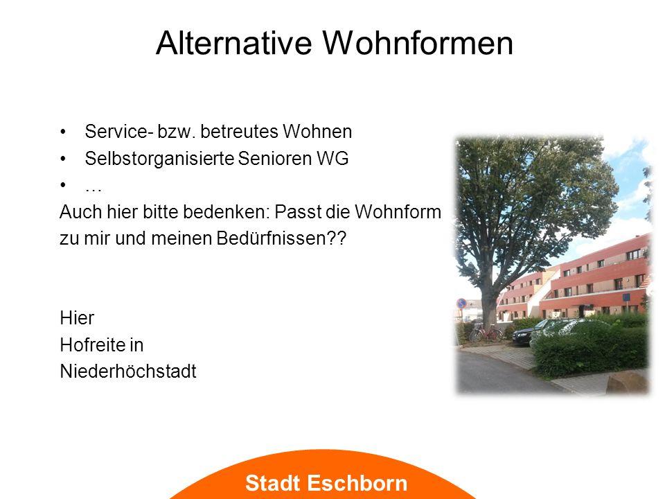 Stadt Eschborn Alternative Wohnformen Service- bzw.