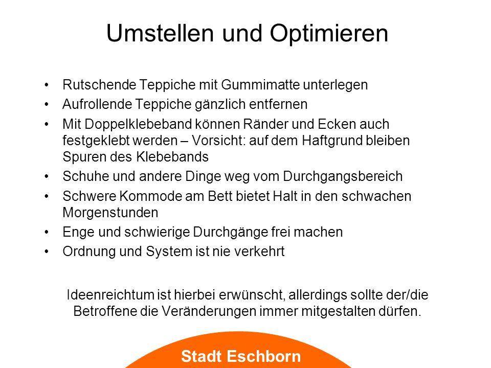 Stadt Eschborn Smart Home Notruf sehr individuell einstellbar: Teppich mit Drucksensoren, Kaffeemaschine an-aus Abschaltautomatik für Geräte wie den Herd, sowie viele weitere Möglichkeiten… Videoliveschaltung für die Kinder (gut überlegen!) Bedienerfreundliche Nutzeroberflächen, Steuerungseinheiten mobil oder fest (über Tablet oder als Wandterminal) Steuerung auch bei Nicht-Anwesenheit möglich