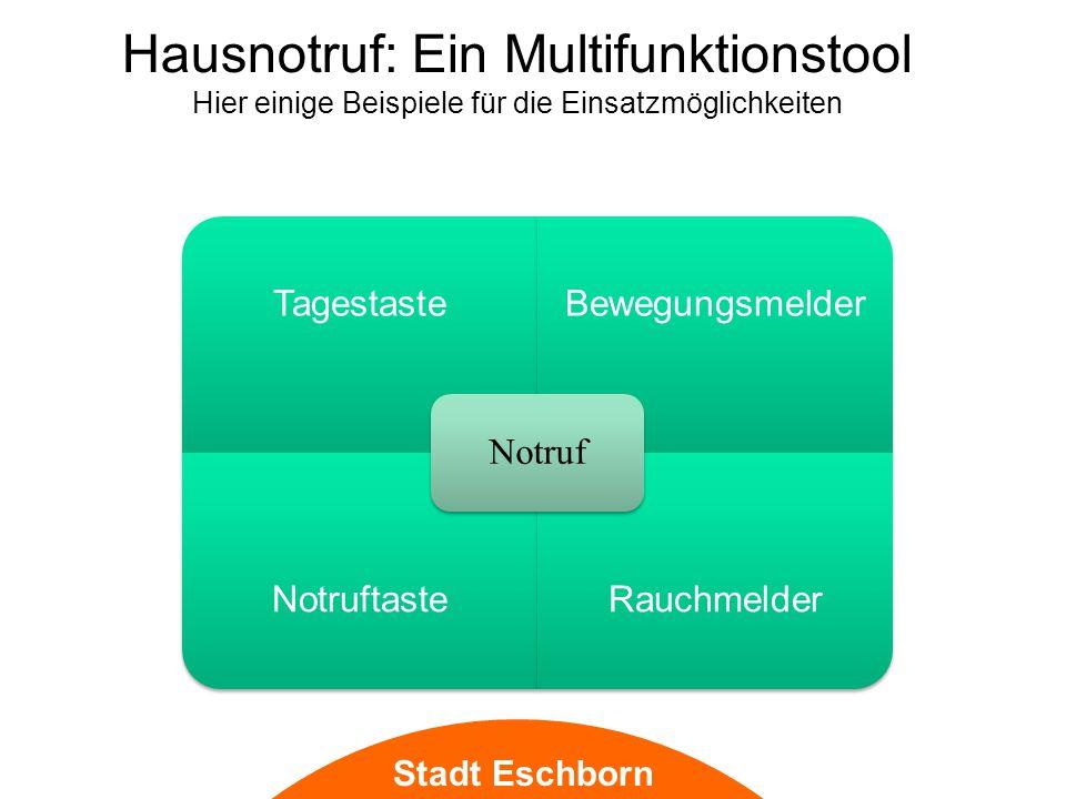 Stadt Eschborn Hausnotruf: Ein Multifunktionstool Hier einige Beispiele für die Einsatzmöglichkeiten TagestasteBewegungsmelder NotruftasteRauchmelder Notruf