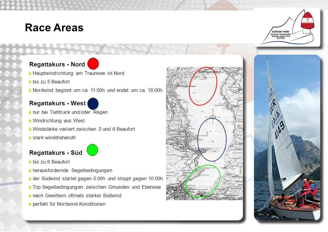 Regattakurs - Nord Hauptwindrichtung am Traunsee ist Nord bis zu 5 Beaufort Nordwind beginnt um ca. 11:00h und endet um ca. 18:00h Regattakurs - West