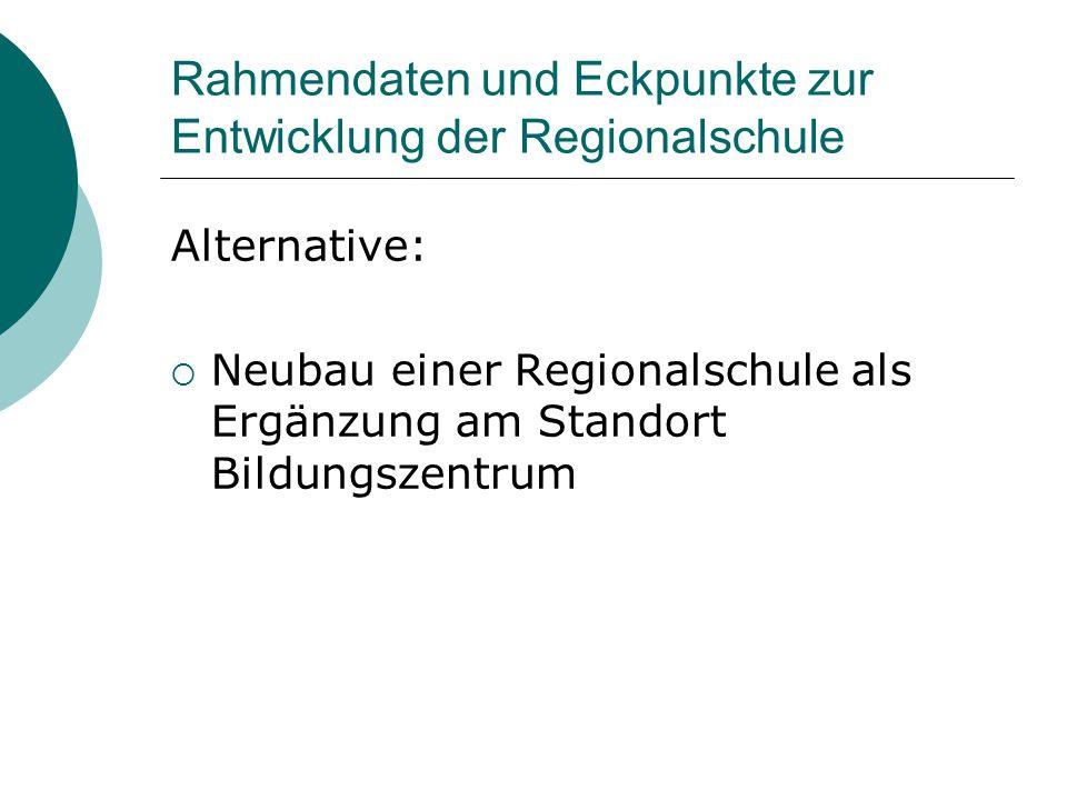 Rahmendaten und Eckpunkte zur Entwicklung der Regionalschule Alternative:  Neubau einer Regionalschule als Ergänzung am Standort Bildungszentrum