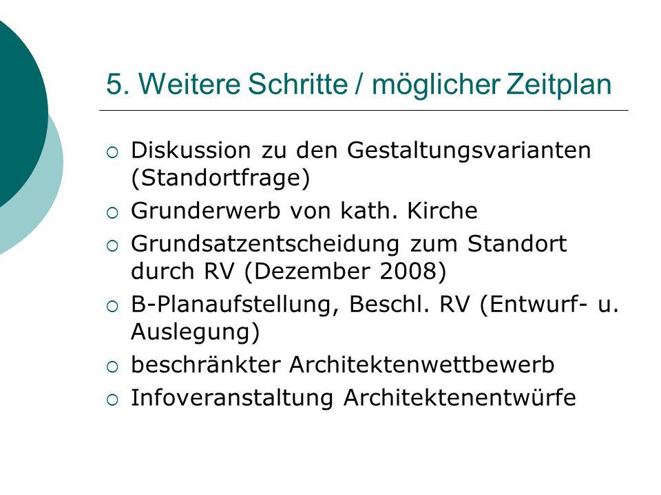 5. Weitere Schritte / möglicher Zeitplan  Diskussion zu den Gestaltungsvarianten (Standortfrage)  Grunderwerb von kath. Kirche  Grundsatzentscheidu
