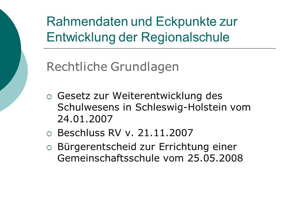 Rahmendaten und Eckpunkte zur Entwicklung der Regionalschule Rechtliche Grundlagen  Gesetz zur Weiterentwicklung des Schulwesens in Schleswig-Holstein vom 24.01.2007  Beschluss RV v.