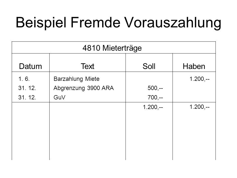 Beispiel Fremde Vorauszahlung 4810 Mieterträge DatumTextSollHaben 1. 6.Barzahlung Miete 1.200,-- 31. 12.Abgrenzung 3900 ARA500,-- 31. 12.GuV700,-- 1.2