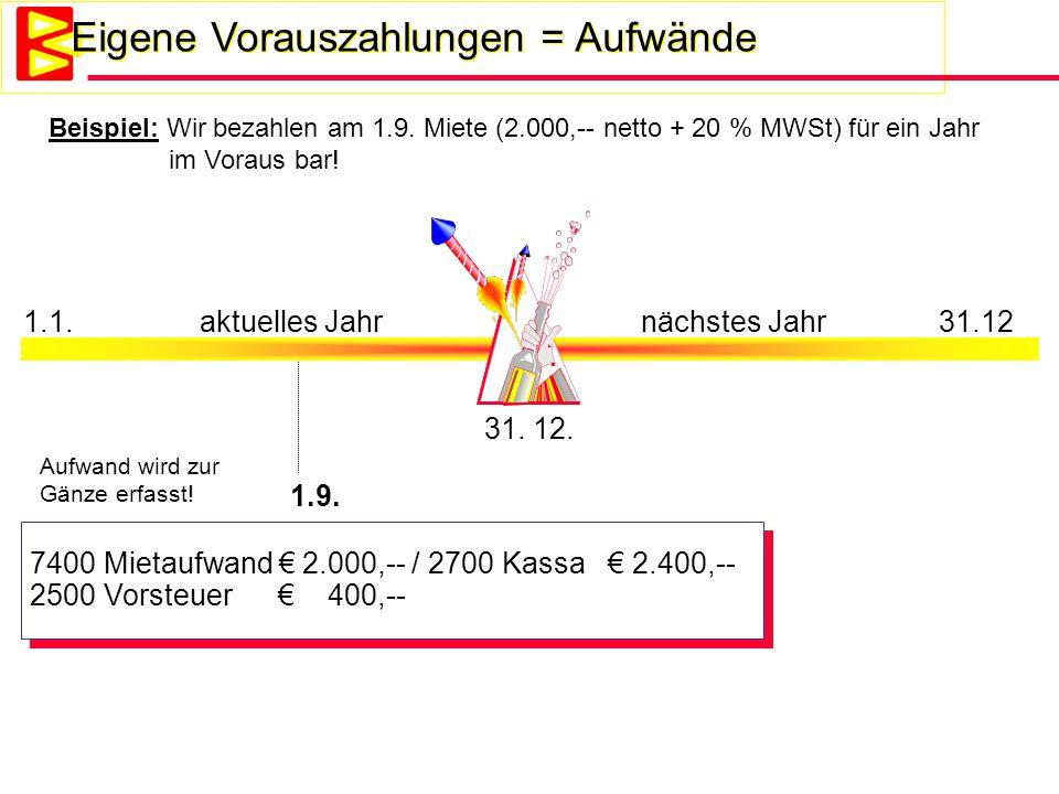 Eigene Vorauszahlungen = Aufwände 1.1.aktuelles Jahrnächstes Jahr 31.12 31. 12. 1.9. Aufwand wird zur Gänze erfasst! 7400 Mietaufwand € 2.000,-- / 270