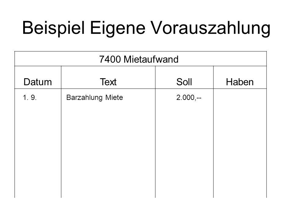 Beispiel Eigene Vorauszahlung 7400 Mietaufwand DatumTextSollHaben 1. 9.Barzahlung Miete 2.000,--