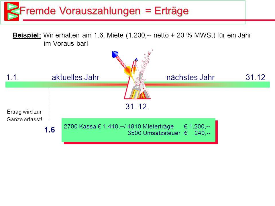 Beispiel Fremde Vorauszahlung 4810 Mieterträge DatumTextSollHaben 1. 6.Barzahlung Miete 1.200,--