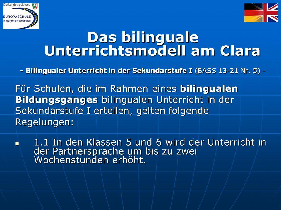 Das bilinguale Unterrichtsmodell am Clara - Bilingualer Unterricht in der Sekundarstufe I (BASS 13-21 Nr.