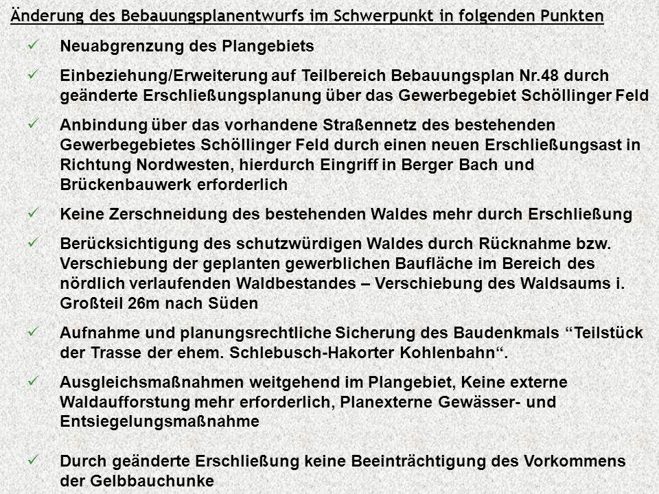 Ziele / Kernpunkte Neuabgrenzung des Plangebiets Einbeziehung/Erweiterung auf Teilbereich Bebauungsplan Nr.48 durch geänderte Erschließungsplanung übe