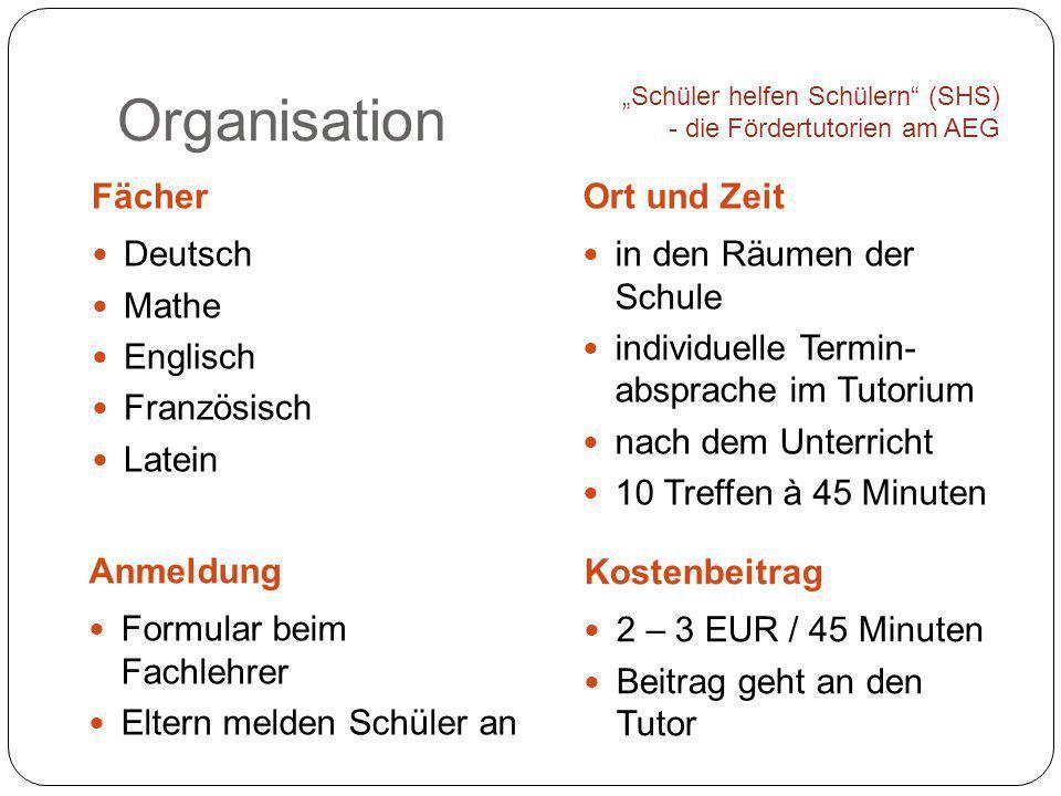 Organisation FächerOrt und Zeit Deutsch Mathe Englisch Französisch Latein in den Räumen der Schule individuelle Termin- absprache im Tutorium nach dem
