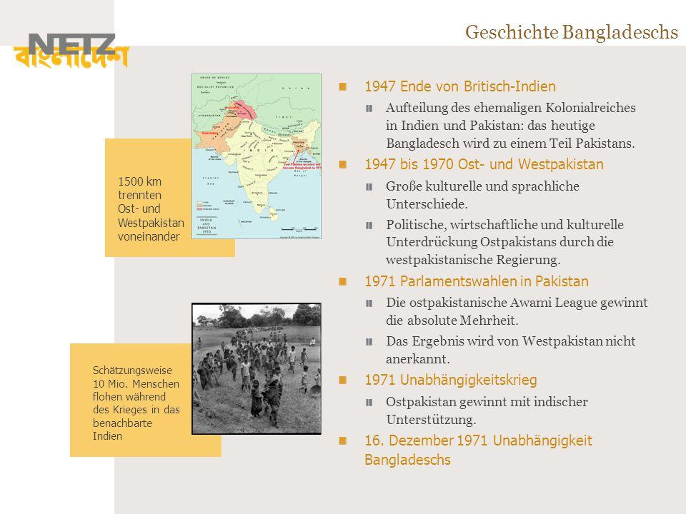 Geschichte Bangladeschs 1947 Ende von Britisch-Indien Aufteilung des ehemaligen Kolonialreiches in Indien und Pakistan: das heutige Bangladesch wird zu einem Teil Pakistans.
