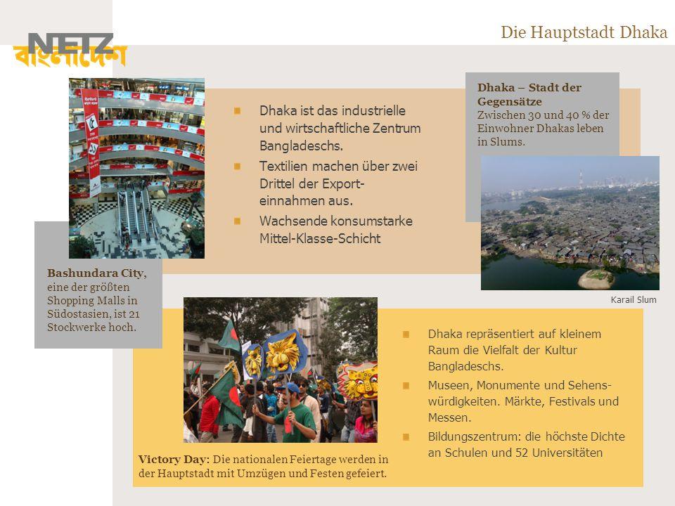 Die Hauptstadt Dhaka Dhaka ist das industrielle und wirtschaftliche Zentrum Bangladeschs.