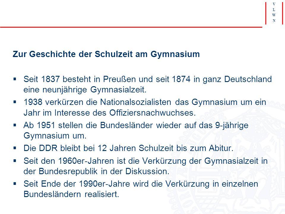 V L W N Zur Geschichte der Schulzeit am Gymnasium  Seit 1837 besteht in Preußen und seit 1874 in ganz Deutschland eine neunjährige Gymnasialzeit.  1