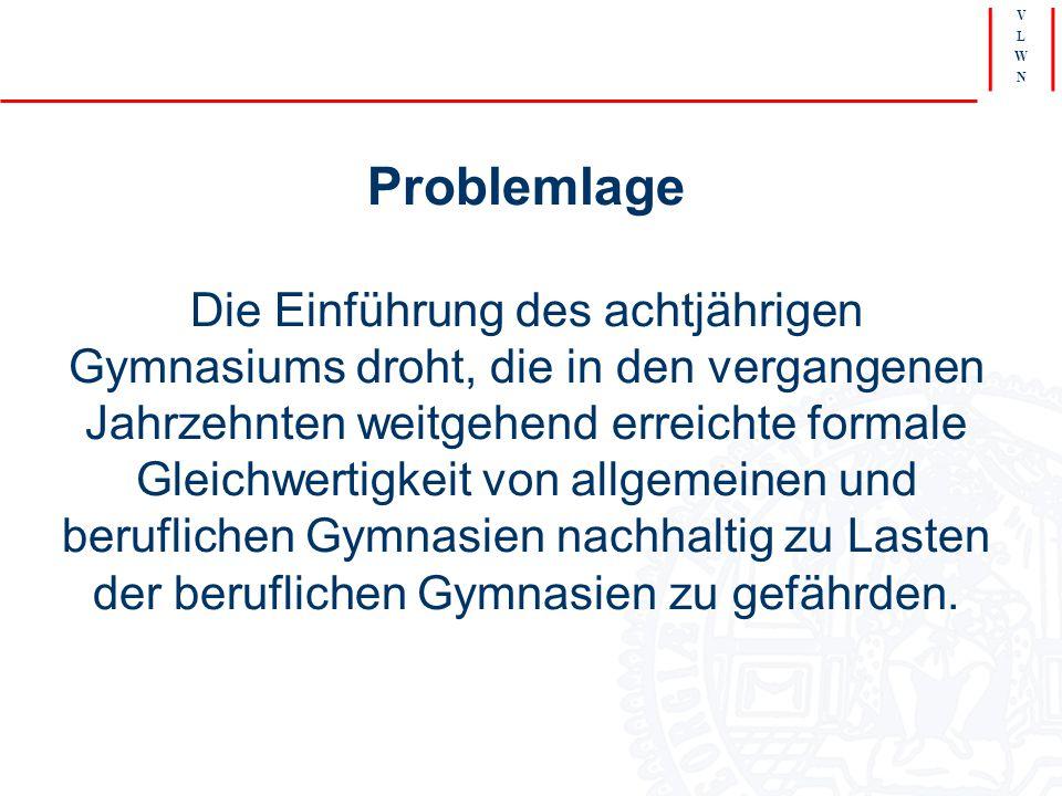 V L W N Problemlage Die Einführung des achtjährigen Gymnasiums droht, die in den vergangenen Jahrzehnten weitgehend erreichte formale Gleichwertigkeit