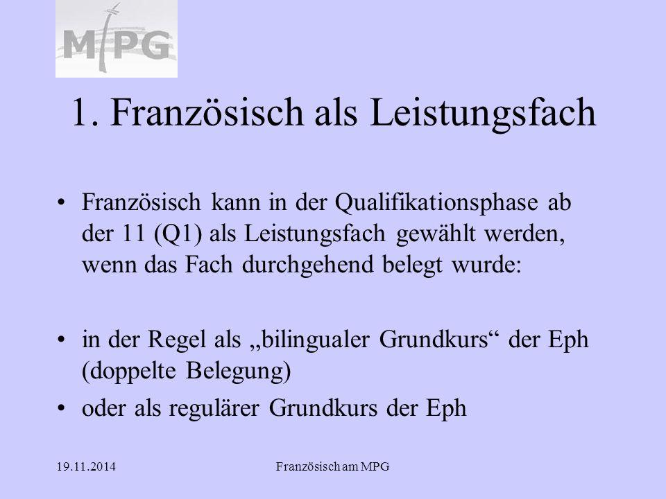 19.11.2014Französisch am MPG 1. Französisch als Leistungsfach Französisch kann in der Qualifikationsphase ab der 11 (Q1) als Leistungsfach gewählt wer