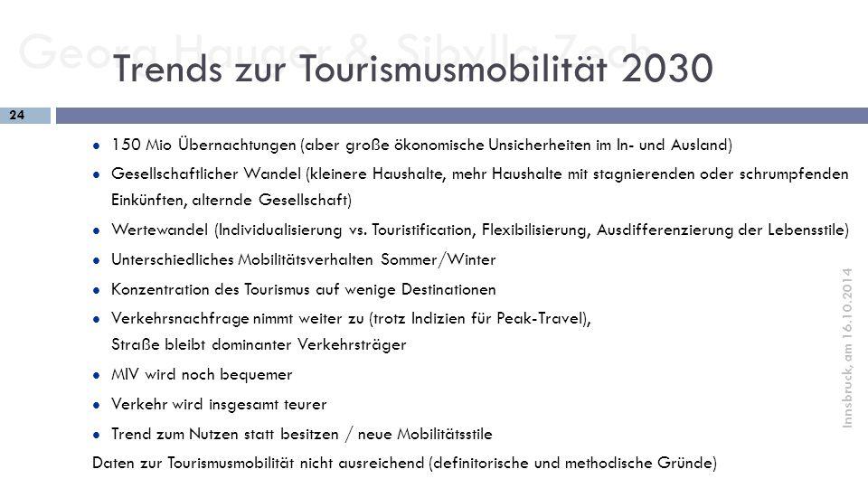 Georg Hauger & Sibylla Zech 24 Innsbruck, am 16.10.2014 150 Mio Übernachtungen (aber große ökonomische Unsicherheiten im In- und Ausland) Gesellschaft