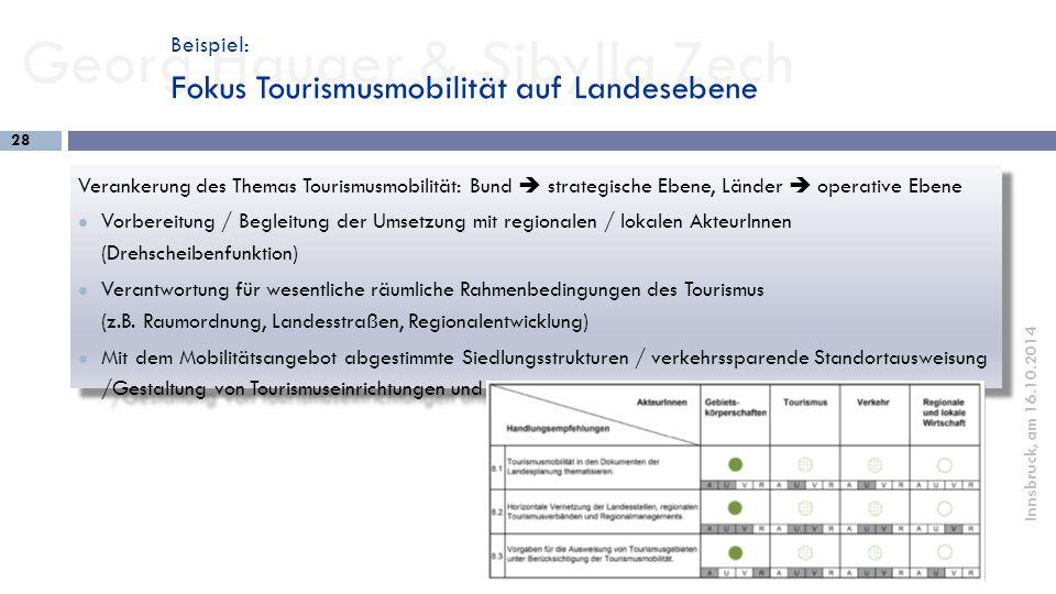 Georg Hauger & Sibylla Zech 28 Innsbruck, am 16.10.2014 Verankerung des Themas Tourismusmobilität: Bund  strategische Ebene, Länder  operative Ebene