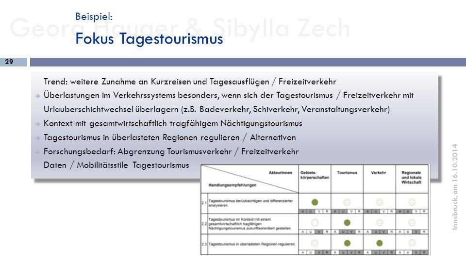 Georg Hauger & Sibylla Zech 29 Innsbruck, am 16.10.2014 Trend: weitere Zunahme an Kurzreisen und Tagesausflügen / Freizeitverkehr  Überlastungen im V