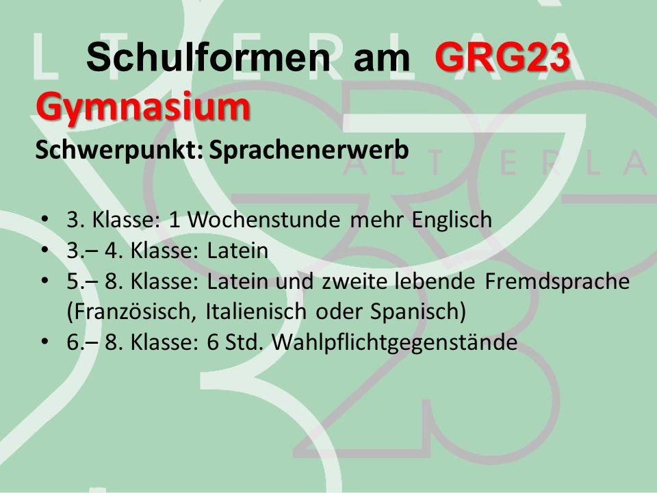 Gymnasium Schwerpunkt: Sprachenerwerb GRG23 Schulformen am GRG23 3. Klasse: 1 Wochenstunde mehr Englisch 3.– 4. Klasse: Latein 5.– 8. Klasse: Latein u