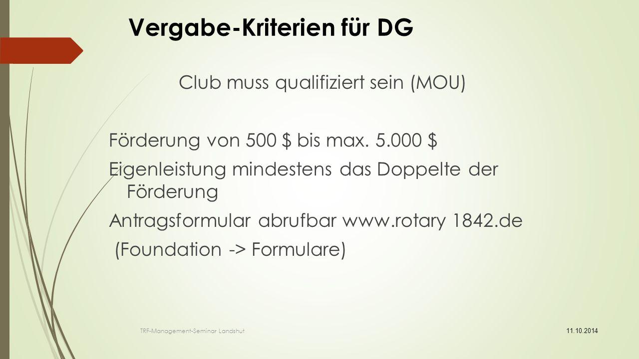 weiter: District Grants DGs können auch außerhalb der sechs Schwerpunktbereiche verwendet werden.