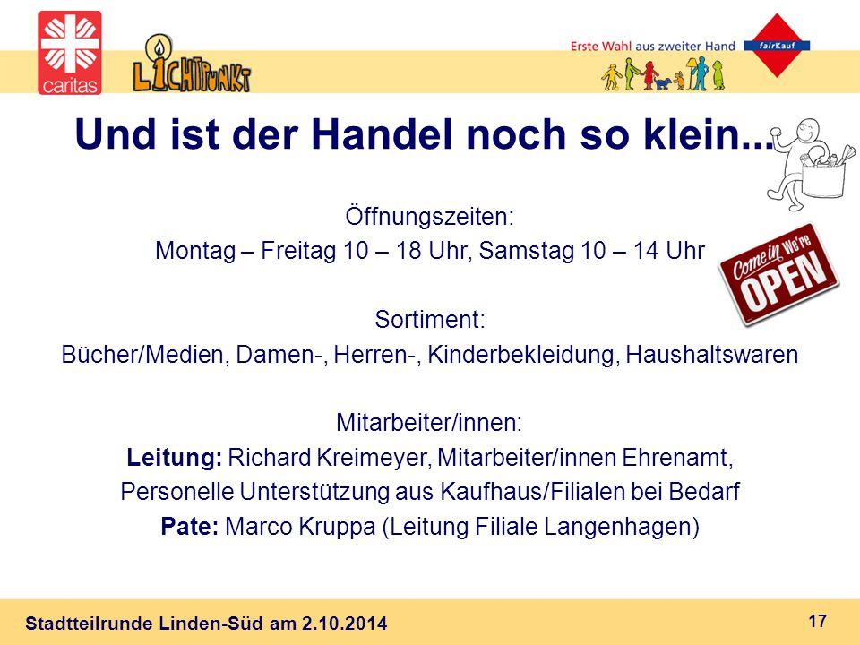Stadtteilrunde Linden-Süd am 2.10.2014 Und ist der Handel noch so klein...