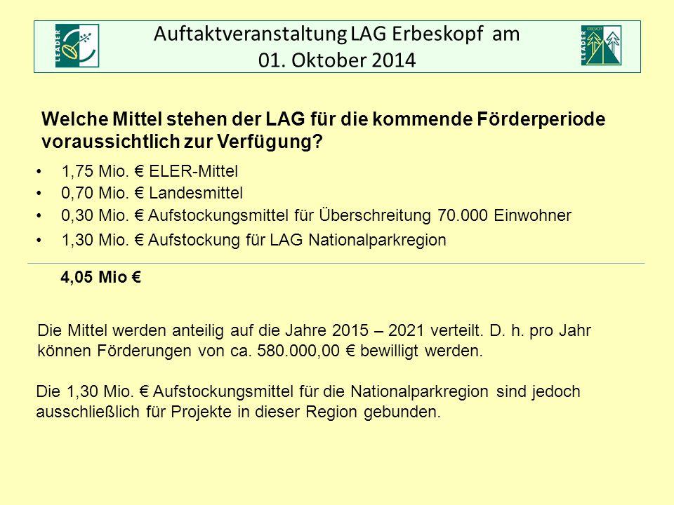 Auftaktveranstaltung LAG Erbeskopf am 01. Oktober 2014 Welche Mittel stehen der LAG für die kommende Förderperiode voraussichtlich zur Verfügung? 1,75