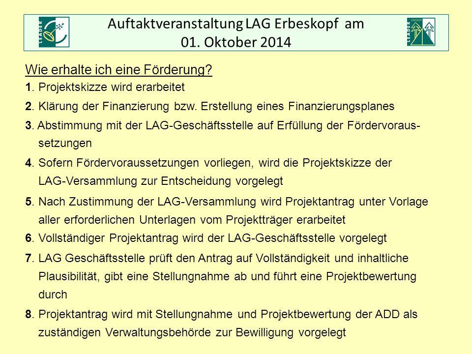 Auftaktveranstaltung LAG Erbeskopf am 01. Oktober 2014 Wie erhalte ich eine Förderung? 1. Projektskizze wird erarbeitet 2. Klärung der Finanzierung bz