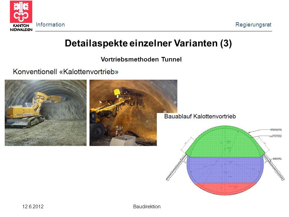 Information Regierungsrat 12.6.2012 Baudirektion Detailaspekte einzelner Varianten (3) Vortriebsmethoden Tunnel