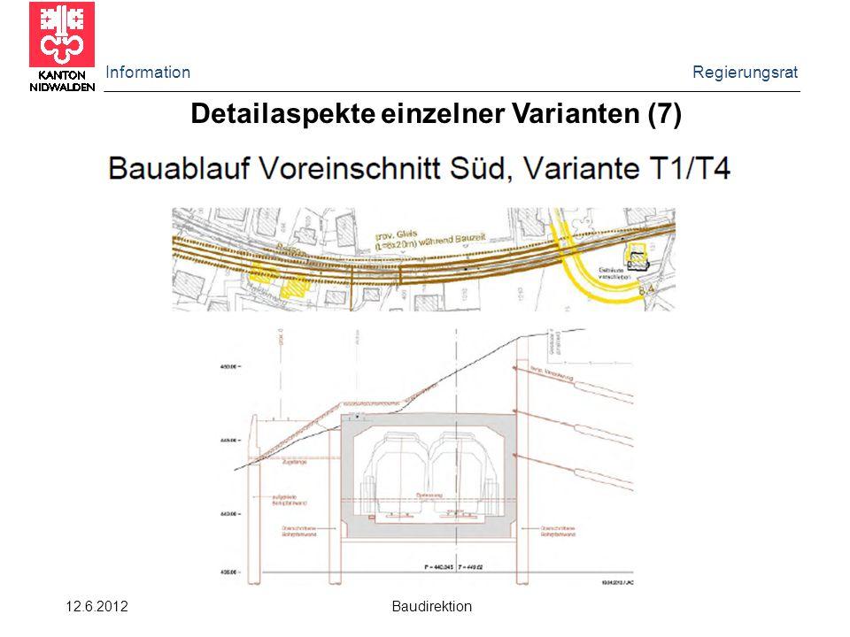 Information Regierungsrat 12.6.2012 Baudirektion Detailaspekte einzelner Varianten (7)